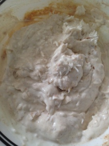 Greek yogurt with maca, coconut, cinnamon, and stevia